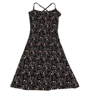 H&M Black Polka Dot Floral Crisscross Mini Dress